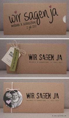 Hochzeitskarte Kraftpapier / Kraft wedding invitation                                                                                                                                                                                 Mehr