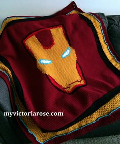 Iron Man Crochet Blanket pattern.  Only $6 on Etsy!