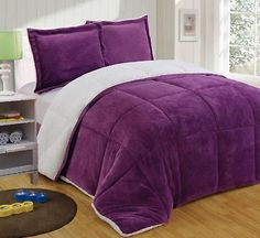 Reversible Comforter Set Micromink Sherpa Down Alternative 3pc Purple Sham Queen