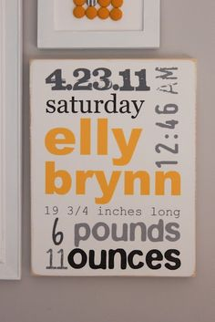 New Baby Subway Wall Art Sign #diy #memory #decor