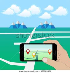 Hand Holding Smart Phone. Play a Mobile Game Using Location Information .Vector Illustration