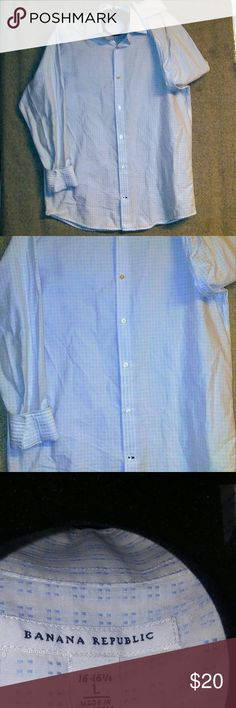 Banana Republic button down White button-down with Periwinkle blue threaded cubed little squares  as accent.perfect for summer cuffed has a darker blue threading. it is size extra large 32 inches in length arm length is 23 inches Banana Republic Shirts Casual Button Down Shirts