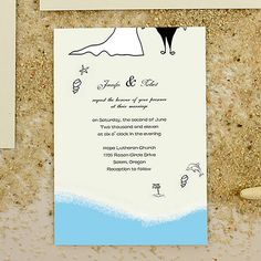 Summer Beach Footprints Wedding Invitation IWI065 as low as $0.94