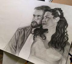 Painting art pencil black and white process love couple portrait