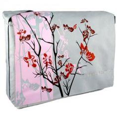 Pink Sparse Floral 15.4 inch Laptop Padded Compartment Shoulder Messenger Bag