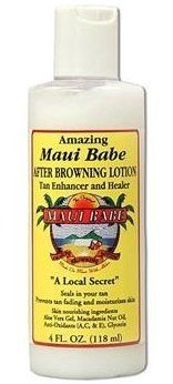 Maui Babe After Browning Lotion - 4oz by Maui Babe. $12.88. Use daily for smoother softer skin year round!. Prevent peeling and flaking. Feed your tanned skin. Feed your tanned skin with the soothing Aloe Vera, Vitamins, and the nourishing Tropical Oils used by old Hawaiians and Polynesians with this AMAZING after sun moisturizer! Our After Sun lotion can help heal your parched skin damaged by the sun, salt, and wind. Prevent peeling and flaking by using our After S...
