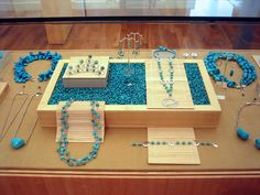 Jewelry case display featuring bamboo sheeting