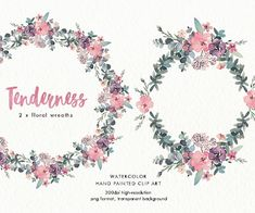 Watercolor floral wreaths Tenderness. Hand-painted, wedding design, invitations, vintage, rustic, valentines day, clip art, pastel, fashion