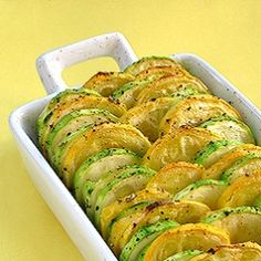 3 zucchini 3 yellow squash 1 ½ tablespoon kosher salt½ black pepper 2 tablespoon extra virgin olive oil  Bake at 400 degrees F for 30 minutes.