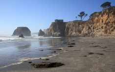 Seaside Beach, Mendocino County, California, is just north of MacKerricher State Park where Seaside Creek sometimes flows through the sand to the ocean.