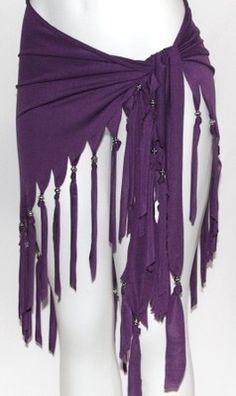 PURPLE FRINGE Tribal Fusion Belly Dance Dancing Burlesque Gothic Hip Scarf Belt