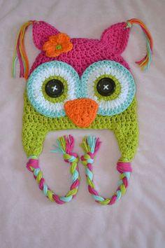 crochet owl hat, crochet kids hat, crochet baby hat,