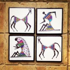 Shop Colourful Handmade, Handpainted Tea Coasters Cum Wall Art With Warli Art In Madhubani Style (set Of by Maddie's Fingers, The Arty Ones online. Largest collection of Latest Dining and Serving online. Madhubani Art, Madhubani Painting, Indian Art Paintings, Your Paintings, Paintings Online, Worli Painting, Tea Coaster, Indian Folk Art, Paint Set