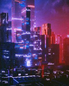 Ville Cyberpunk, Art Cyberpunk, Cyberpunk Aesthetic, Neon Aesthetic, Cyberpunk Tattoo, Cyberpunk Fashion, Concept Art Landscape, Landscape Art, Arte Sci Fi
