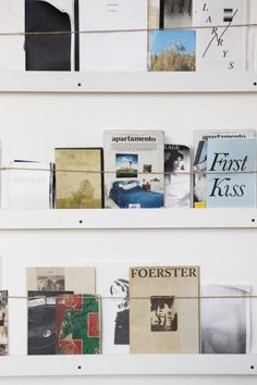 """""""This is my zine wall, which holds a collection of magazines purchased at Printed Matter or gifted to me by my artist friends."""""""
