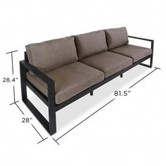 Real Flame Baltic 3 Seat Outdoor Sofa in Black - Starfire Direct