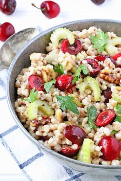 Before the cherries are gone, try this great grain/cherry/walnut salad with cooked quinoa!