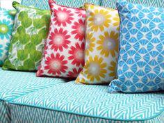 Closeup of Thunderbolt Ercol sofa and cushions. By Sarah Waterhouse Hand Printed Fabric, Printed Cushions, Ercol Sofa, Screenprinting, Fabrics, Diy Crafts, Throw Pillows, Prints, Home