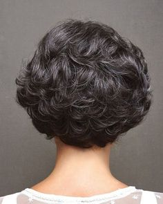 Have fun tousling the soft, wavy locks on this chin-length tapered bob. Short Curly Hair, Wavy Hair, Short Hair Cuts, Curly Hair Styles, Wavy Bob Haircuts, Bob Hairstyles For Fine Hair, Braided Hairstyles, Black Hairstyles, Monofilament Wigs