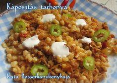 Káposztás tarhonya (Gluténmentesen is) recept foto Chili, Oatmeal, Grains, Paleo, Pork, Food And Drink, Rice, Meat, Breakfast