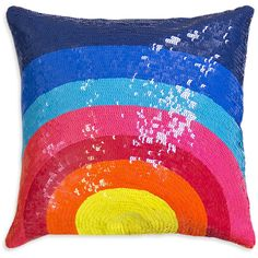 Jonathan Adler Sunrise Sequined Nico Pillow ($86) ❤ liked on Polyvore featuring home, home decor, throw pillows, jonathan adler, colorful home decor, square pillow insert, colorful throw pillows and multi colored throw pillows