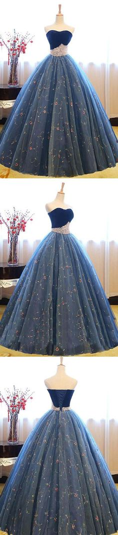 Ball Gown Sweetheart Navy Blue Lace Prom Dress with Beading