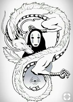 Studio ghibli 💜 Haku e no face Studio Ghibli Films, Art Studio Ghibli, Studio Ghibli Tattoo, Totoro, Art Anime, Anime Kunst, Spirited Away Tattoo, Spirited Away Dragon, Spirited Away Art