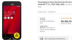 """Asus Zenfone Go 3G Vermelho Dual-Sim Tela 45"""" Android 5.1 Câm 5Mp 8Gb << R$ 35910 >>"""