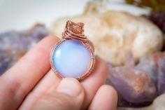 Opalite gemstone copper Wire jewelry 925 by Bellamagicaljewelry