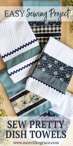 Sew Pretty Dish Towels - Here's a quick peek at how you sew the rick rack: In. - Sew Pretty Dish Towels – Here's a quick peek at how you sew the rick rack: Instead of sewing a - Easy Sewing Projects, Sewing Projects For Beginners, Sewing Hacks, Sewing Tutorials, Sewing Crafts, Sewing Tips, Tutorial Sewing, Sewing Blogs, Quilting Projects