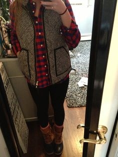 Sorel Boots, Black Leggings, Flannel Collared Shirt, and J. Crew Herringbone Vest