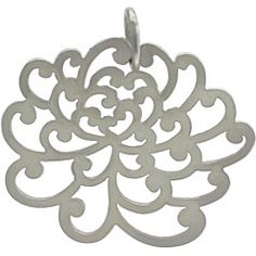 #ninacharms Small Silver Plated Bronze Chrysanthemum Flower Charm