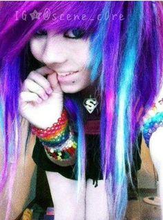 multicolored scene hair:)