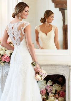 A-Line Scalloped-Lace Illusion Wedding Dress | Style 6219 by Essence of Australia |  http://trib.al/tR3w3u1