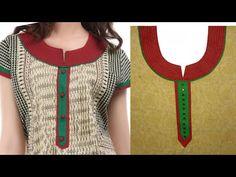Cut And Stitch Round Neckline With Zari Patch Chudidhar Neck Designs, Neckline Designs, Dress Neck Designs, Blouse Designs, Salwar Neck Patterns, Salwar Kameez Neck Designs, Kurta Neck Design, Stitching Dresses, Sewing Clothes