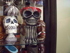 two from Munktiki Tiki Glasses, Halloween Face Makeup, Skull, Art, Art Background, Kunst, Performing Arts, Skulls, Sugar Skull
