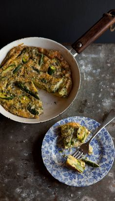 minty asparagus and zucchini frittata | Drizzle and Dip