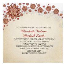 Christmas Snowflakes Winter Wedding Invite