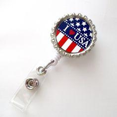 American Flag - I Love USA - ID Badge Holder - Badge Reel - Name Badge Holder - Bottle Cap Badge - Nursing Badge - Nurses Badge Holder
