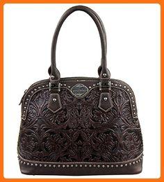 Trinity Ranch Tooled Design Collection Handbag (Coffee) - Top handle bags  ( Amazon 225812c285