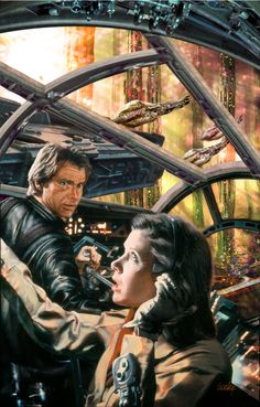 Star Wars - Han Solo and Leia by Dave Seeley Star Wars Film, Star Wars Fan Art, Star Trek, Science Fiction, Mundo Dos Games, Star Wars Personajes, Han And Leia, Kino Film, Star War 3
