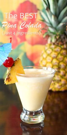 The BEST Dairy Free Pina Colada Recipe - just 4 all-natural ingredients for a sweet vegan cocktail (with virgin option)