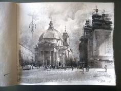 """The Church of artists (Basilica di Santa Maria in Montesanto)"" monochrome sketch, 21 x 25 2016 © Sergey Temerev"
