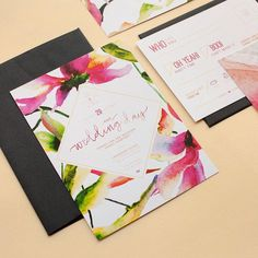 Oh yeah! Party like you're Serena Van Der Woodsen circa This fun and floral set by is available onsite now. Watercolor Wedding Invitations, Modern Wedding Invitations, Bridal Shower Invitations, Wedding Stationery, Wedding Cards, Invites, Wedding Theme Inspiration, Exotic Wedding, Ideas