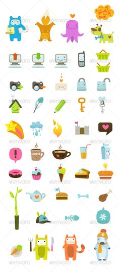 Buy 48 Ultra Cute Vector icons by hipis on GraphicRiver. 48 very cute and stylish vector icons. Everything easily adjustable, possible to combine images differently and has a. Retro Vector, Vector Icons, Icon Design, Print Design, Graphic Design, Child Care Logo, Children's Picture Books, Cute Icons, Work Inspiration