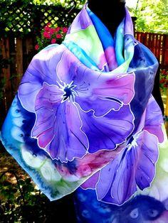 FOULARD en soie fleurs tropicales de peintes à la par SilkMagic