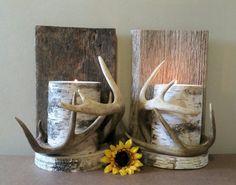 Deer Antler Decor Wall Antlers Sconce Real Antlers by TheCreativeQ Deer Antler Crafts, Antler Art, Deer Antlers, Deer Heads, Deer Hunting Decor, Deer Decor, Skull Decor, Lodge Decor, Candle Wall Sconces