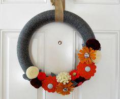 Autumn Yarn Wreath with Felt Flowers by LibbyLuJune on Etsy