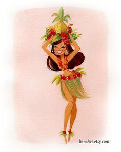 Pineapple Princess fine art print set by LianaHee on Etsy