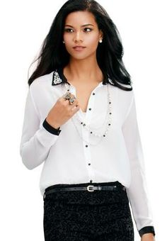 JEWEL EMBELLISHED COLLAR SHIRT | Body Central